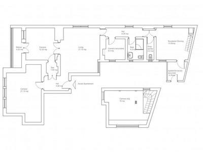 Apartament 4 camere nemobilat de inchiriat - ID 515